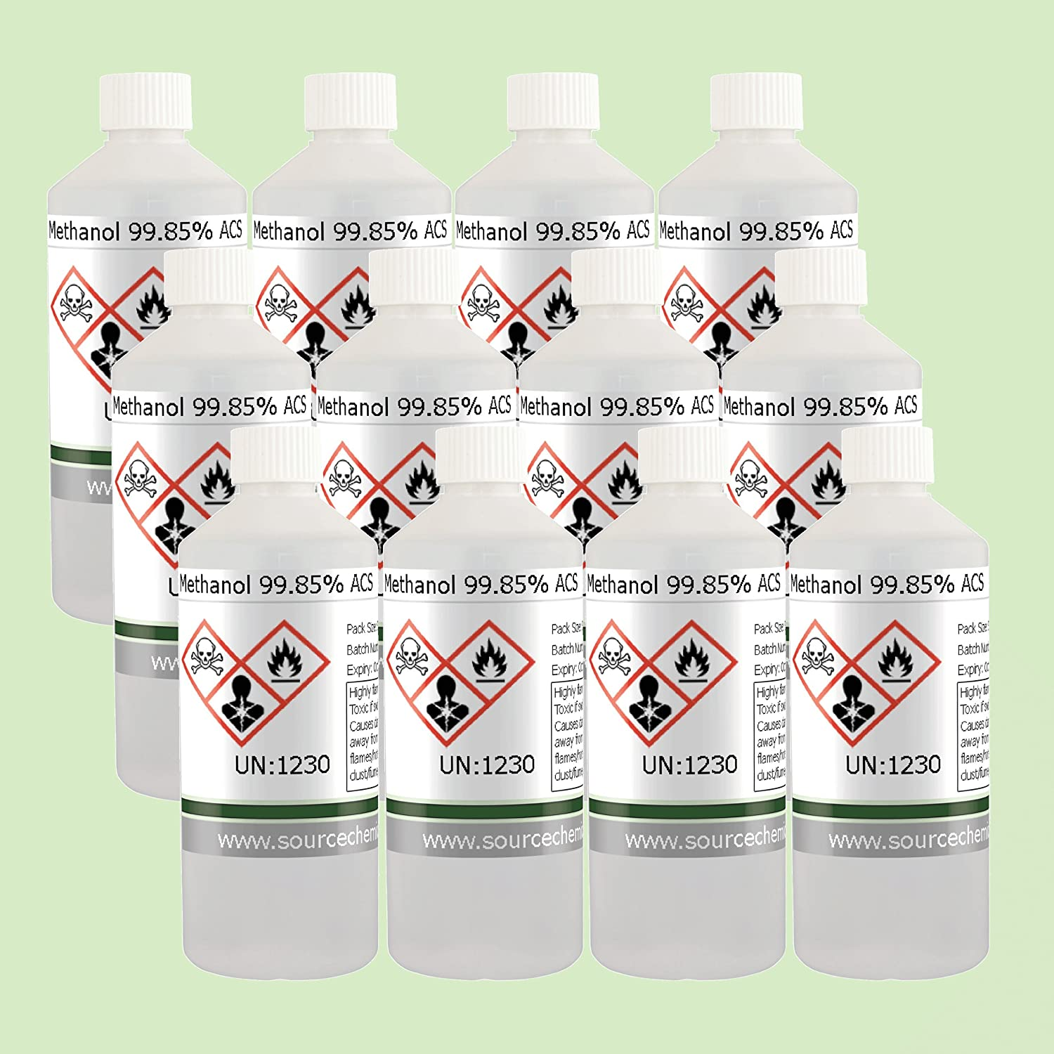 Methanol (Methyl Alcohol) 12 x 500ml (6L) Including Courier Delivery Source Chemicals M-12X500-IT