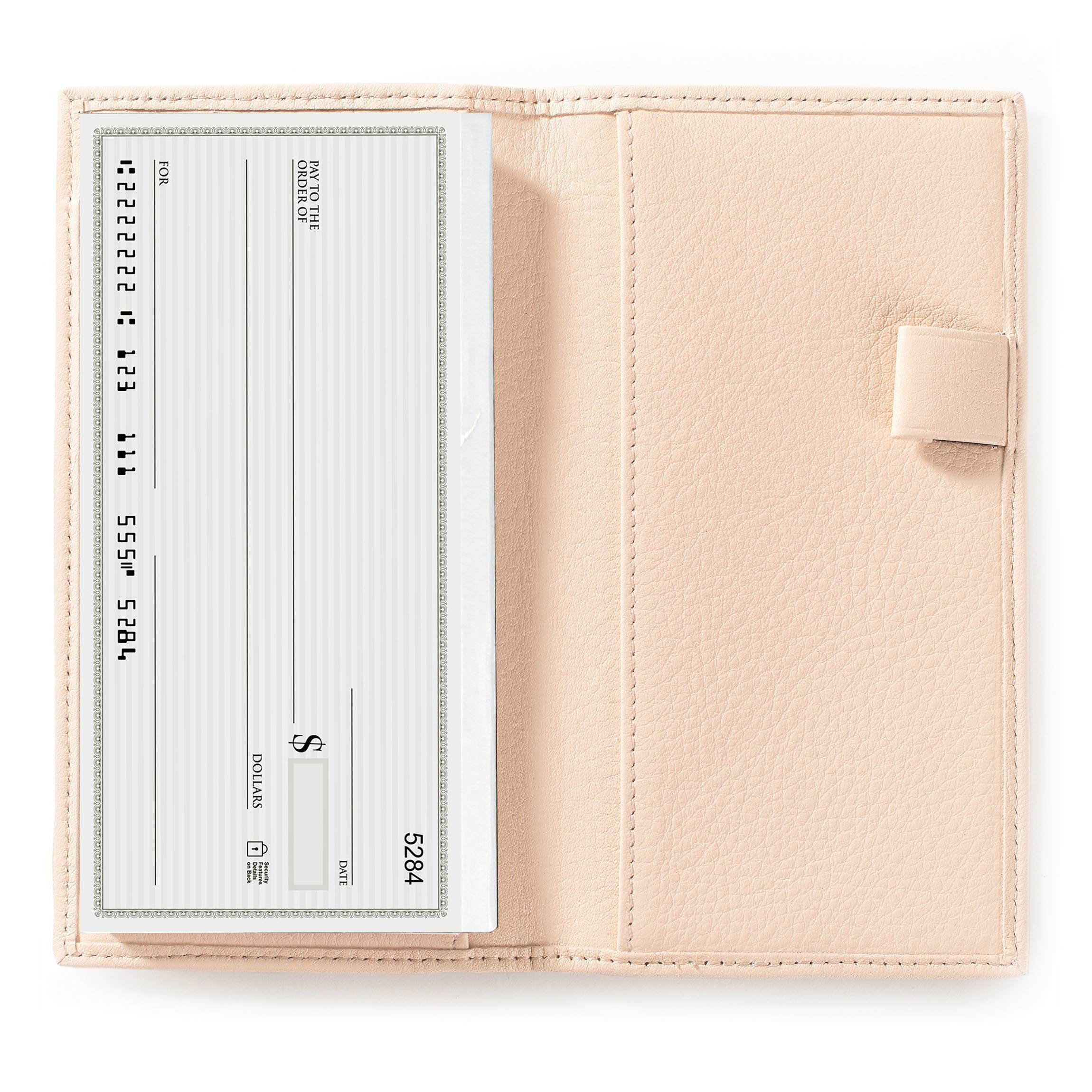 Deluxe Checkbook Cover with Divider - Full Grain Leather Leather - Rose (pink)