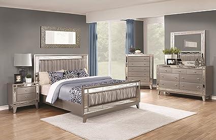 Amazon.com: Leighton Bedroom Beautiful Metallic Leatherette ...