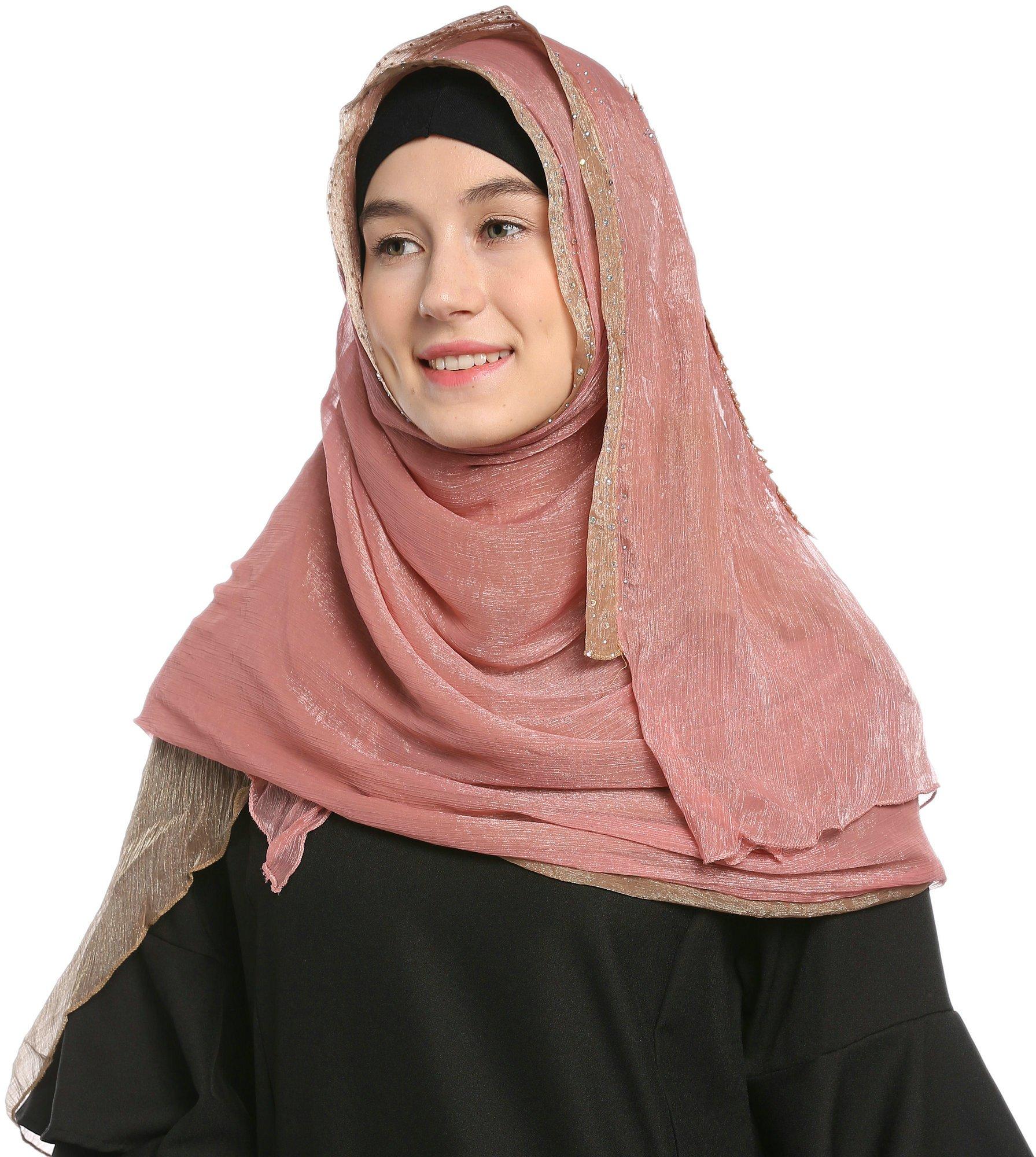 Ababalaya Lace Decorated Wedding Hijab Islamic Hijab,Color3 by Ababalaya (Image #7)