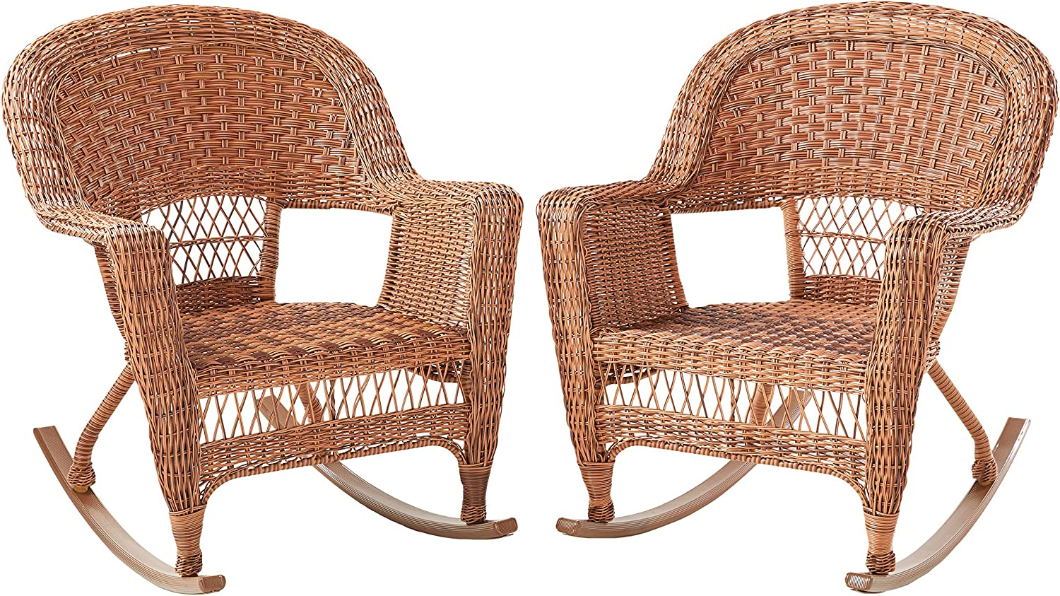 Jeco Set of 2 Wicker Rocker Chairs, Honey