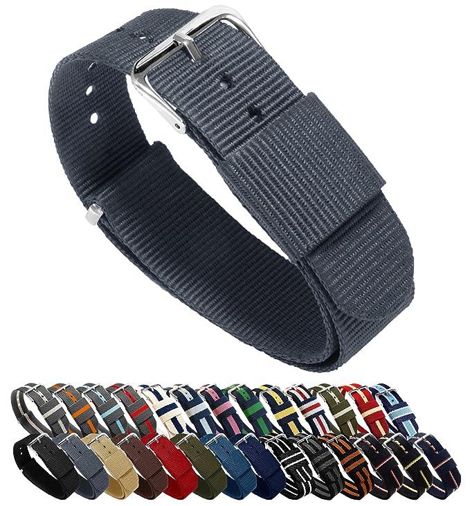 Barton Reloj Bandas – elección de Color, Longitud y Anchura (18 mm, 20 mm, 22 mm o 24 mm) – Correas de Nailon balístico