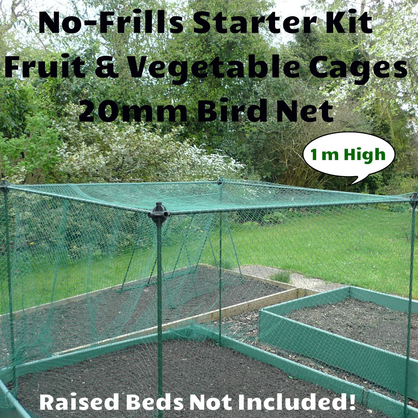 1m / 3ft High - No Frills Netted Fruit and Vegetable Veg Crop Cage Kit - Plant Stake with 20mm Bird Netting (1.2m x 1.2m x 1m High) GardenSkill