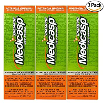 Amazon.com : Medicasp Coal Tar Gel Dandruff Shampoo to Treat Seborrheic Dermatitis Psoriasis 3 Pack 6 oz : Beauty