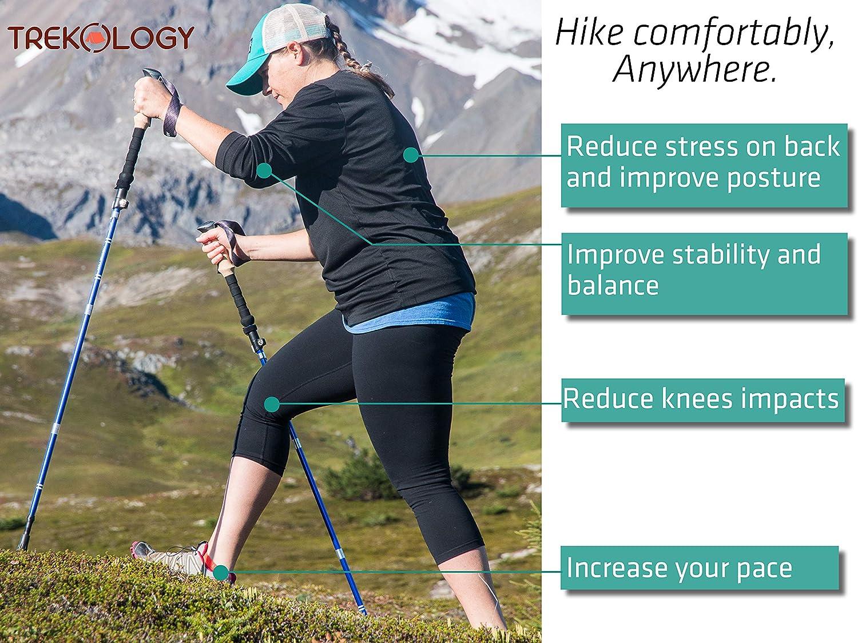 Trekology Trek-Z Collapsible Tri-fold Trekking Pole Hiking Poles – Adjustable Lightweight Aluminum Walking Sticks, Portable Trail Cane with EVA Grip for Walking, Senior Trekking, Hike, Backpacking
