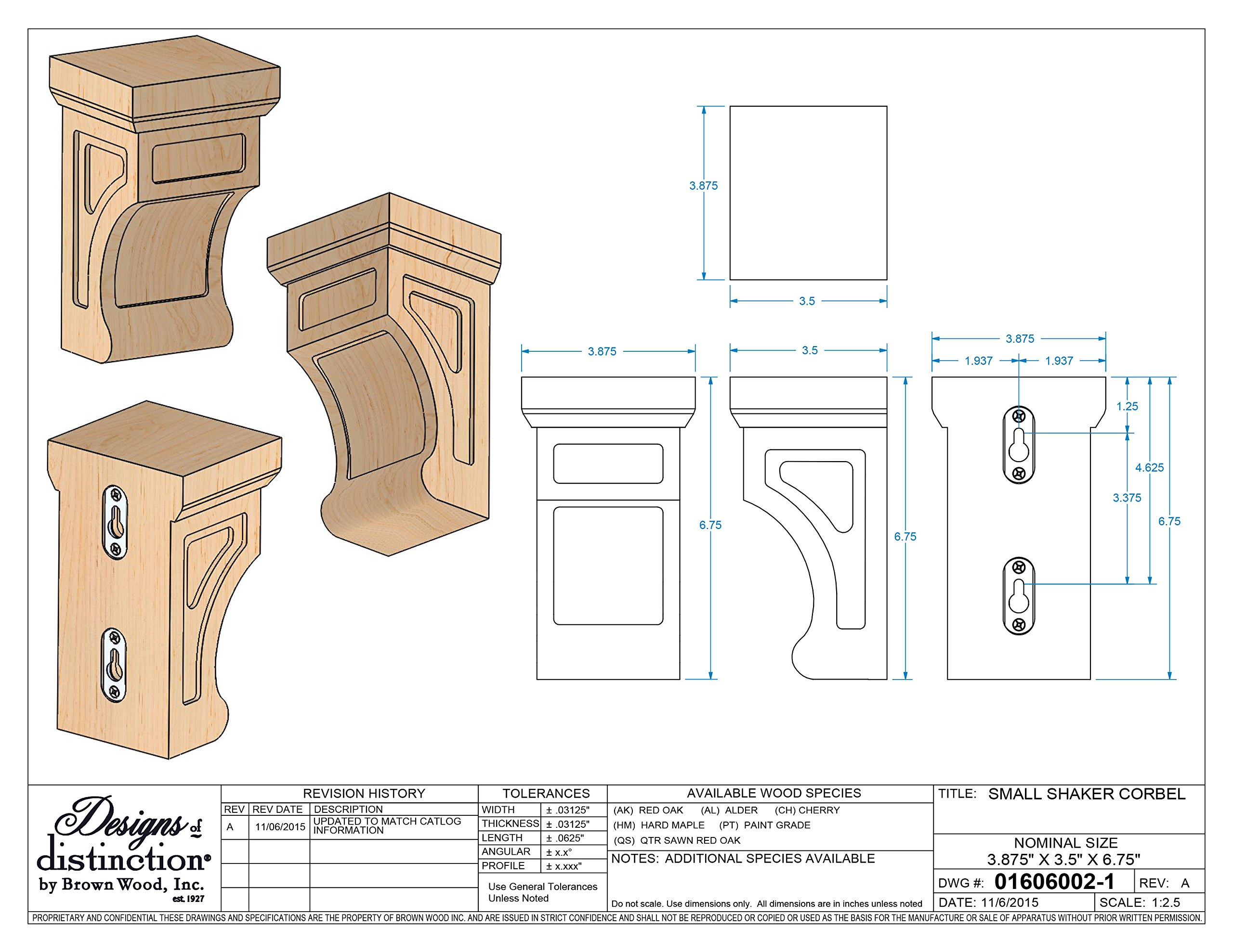 Brown Wood Inc. 01606002AK1 Full Shaker Wood Corbel, Red Oak by Brown Wood Inc.
