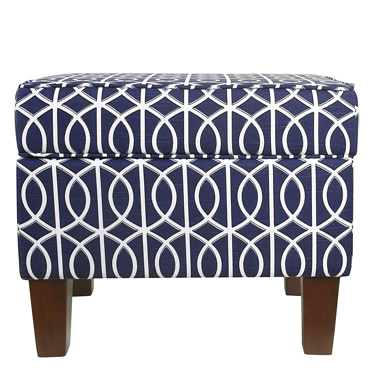 HomePop Square Storage Ottoman with Hinged Lid, Blue Trellis