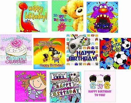 10 niños Tarjeta de felicitación de cumpleaños Mezcla de ...