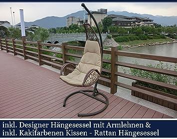 Amazon.de: Love Seat Designer Rattan Hängesessel mit Armlehnen ...