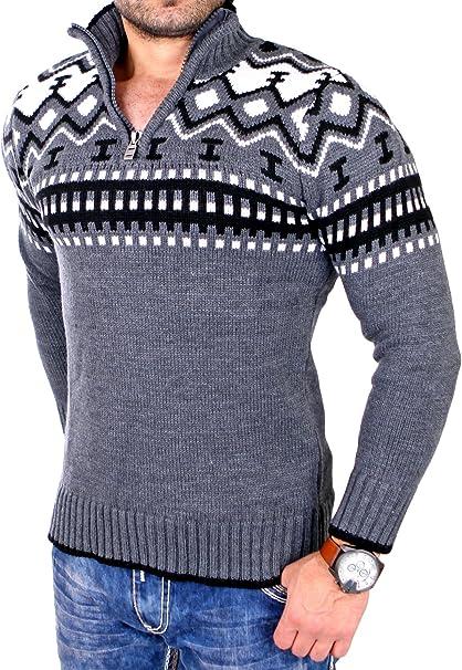 Reslad Herren Strickpullover Crewneck Zipper Winterpullover für Männer Norweger Pullover RS 3110