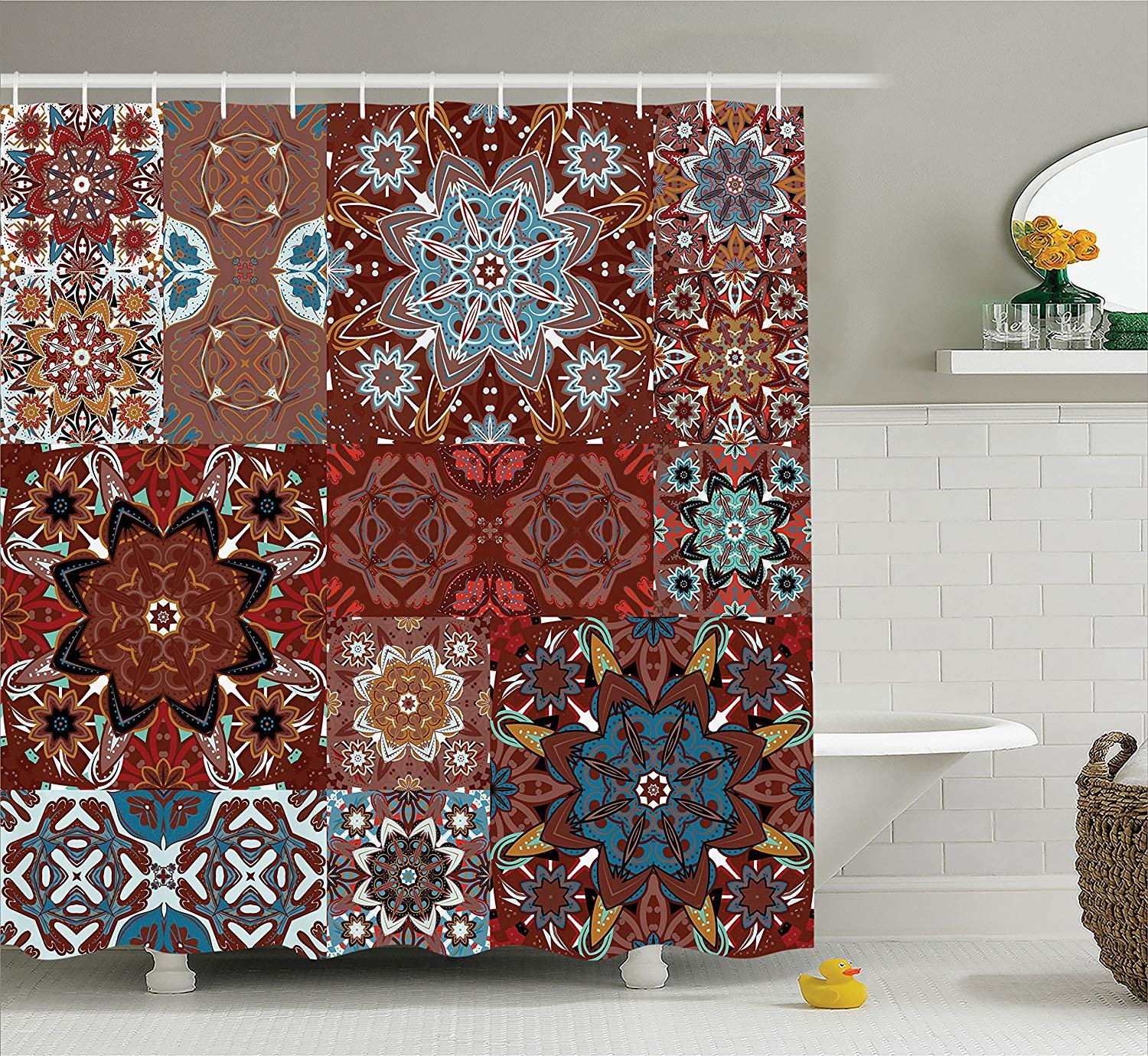 Custom Made Victorian Shower Curtain, Classic Victorian Floral Authentic Motives and Ethnic Tribal Mandala Pattern, Fabric Polyester Waterproof 12 Stainless Steel Hook, 60 x 72 Inches Burgundy Brown