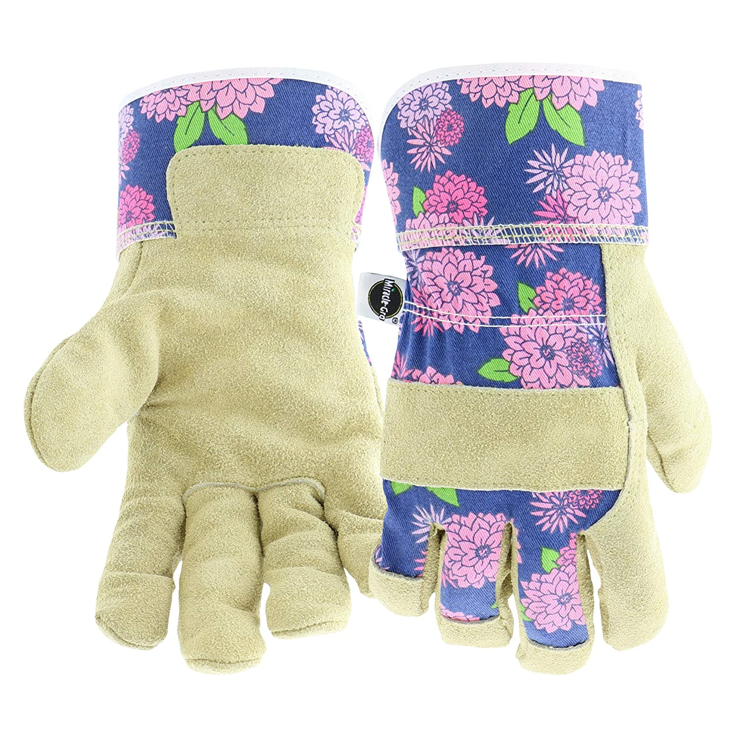 West Chester Miracle-Gro MG23012/WML Split Cowhide Garden Gloves – Floral, Medium-Large, Canvas Back Leather Palm Gloves for Women