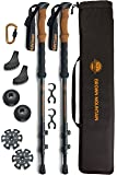 Trekking Poles Kit for Men Women - 100% Carbon Fiber Walking Sticks Lightweight Collapsible Strong Adjustable with Comfortable Cork Handles - Perfect Nordic Hiking Walking Poles for Hiking Trekking