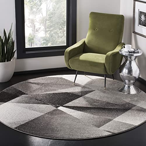 Safavieh Porcello Collection PRL6939D Area Rug, 6 7 Round, Light Grey Charcoal