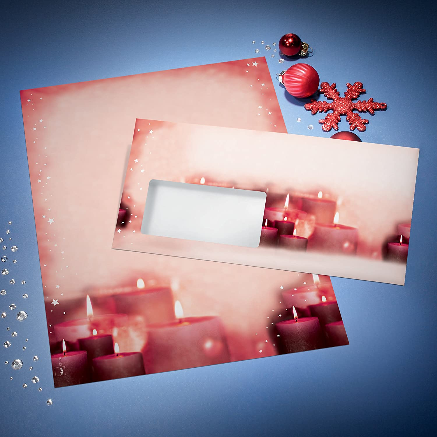 Red Sigel DP138 90 g Writing Paper with A Festive Candle Design