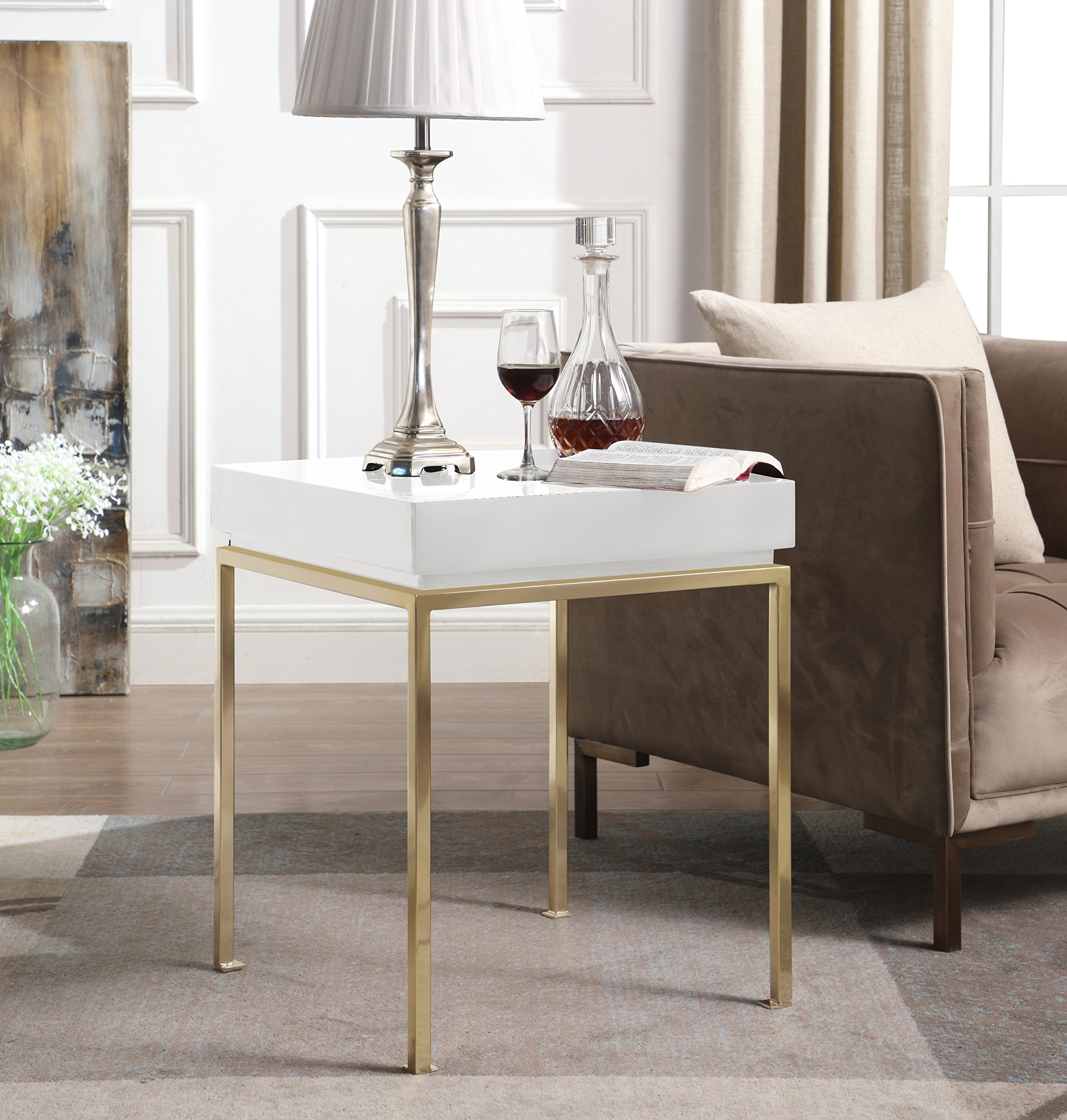 Iconic Home Cannes Nightstand Side Table Square Frame High Sheen Lacquer Finsh Top Gold Plated Metal Legs, Modern Contemporary, White