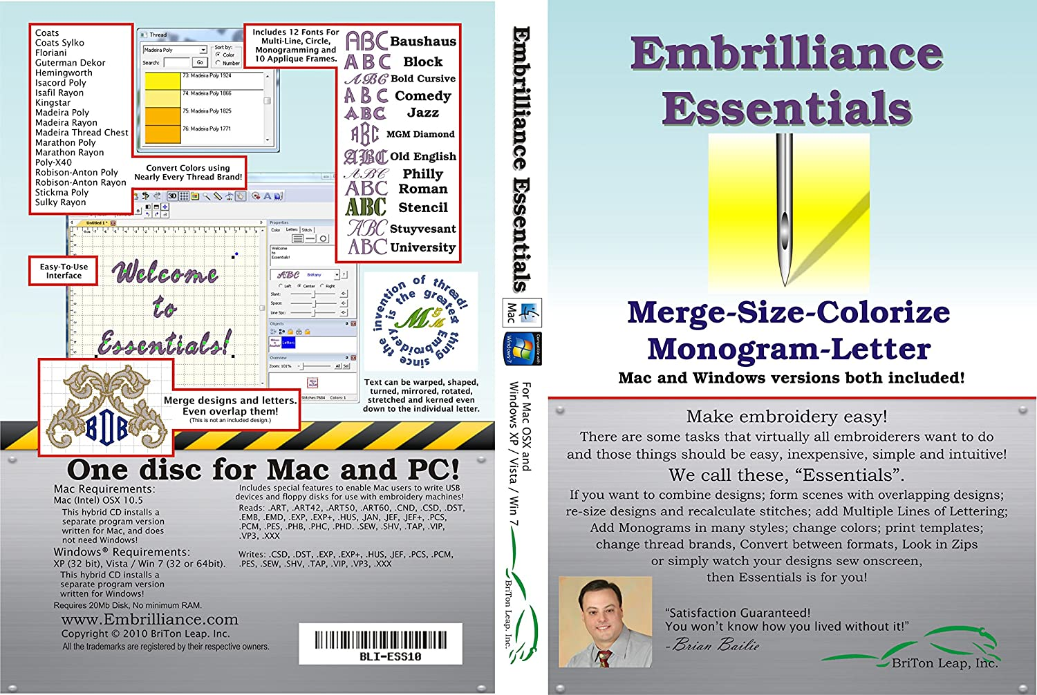 Embroidery Software-Best rich-features: Embrilliance Essentials Software for MAC and PC