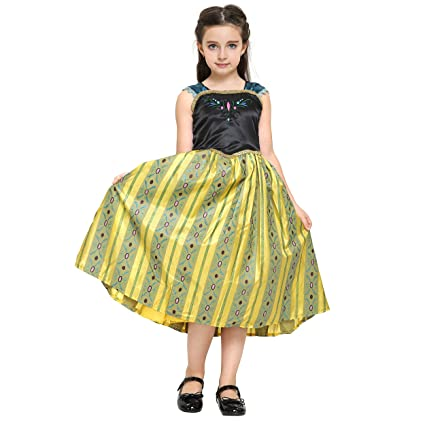 Katara - Disfraz de Anna Frozen Deluxe, vestido de coronacion de la Reina de Hielo - para niñas de 4-5 años