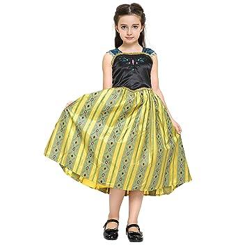 Katara - Disfraz de Anna Frozen Deluxe, vestido amarillo de la Reina del Hielo y