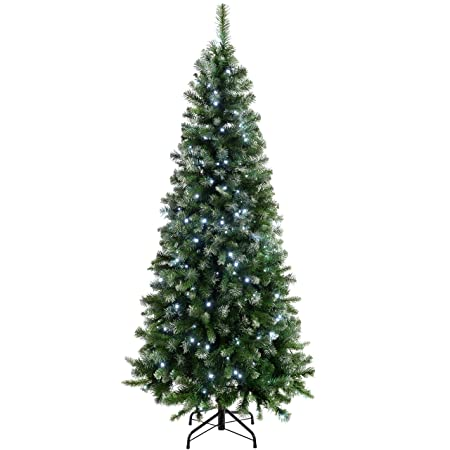 Image Unavailable. Image not available for. Colour: WeRChristmas Pre-Lit  Slim Frosted Christmas Tree ... - WeRChristmas Pre-Lit Slim Frosted Christmas Tree With 200 White LED