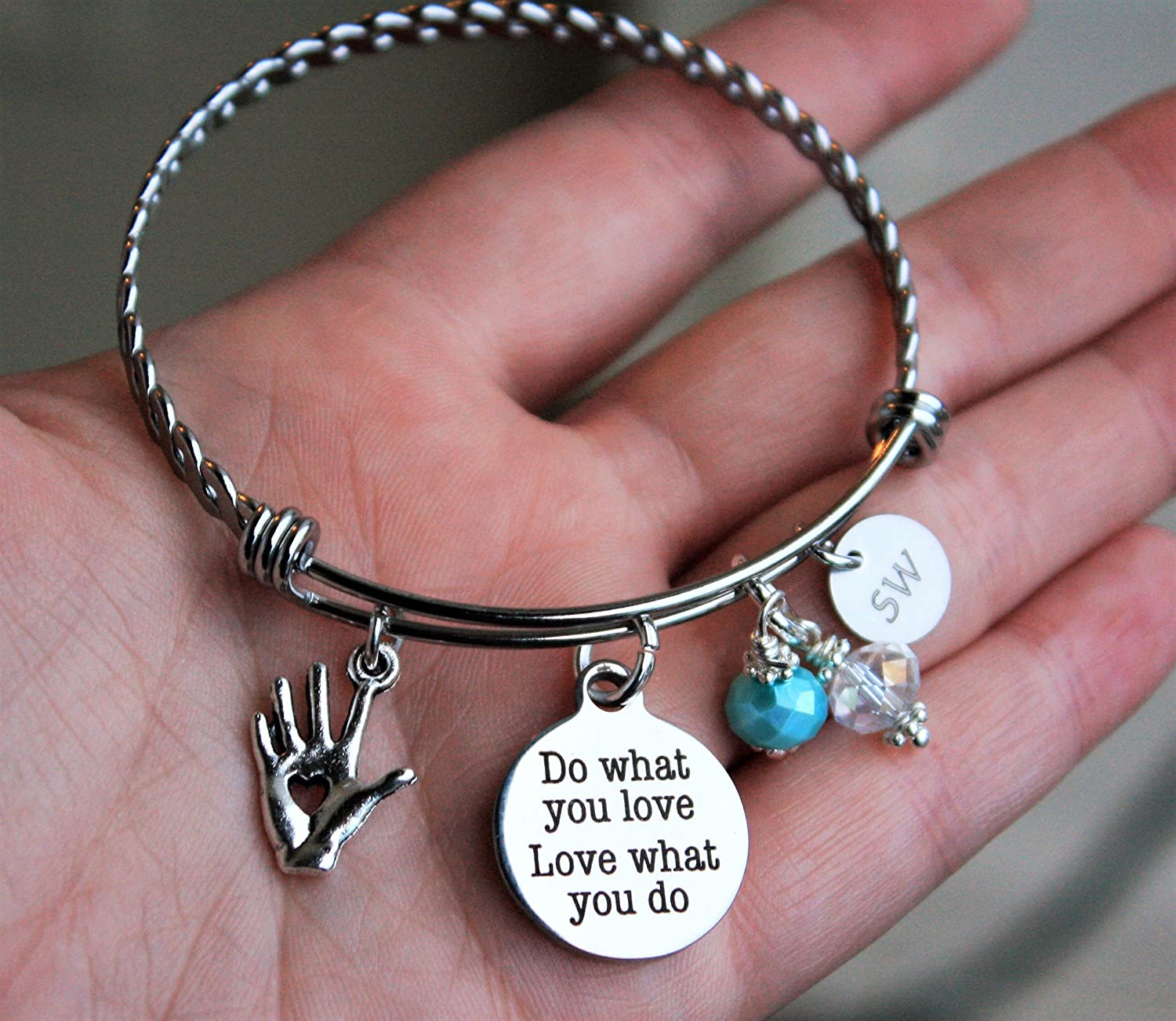 Social Worker MSW SW Bangle Bracelet Gift Idea, your choice of SW or MSW charm and choice of bead color Do what you love love what you do quote social worker graduate graduation gift
