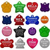 Pet ID Tags - 8 Lines of Engraving Available | Size Small or Large | Bone, Round, Star, Heart,…