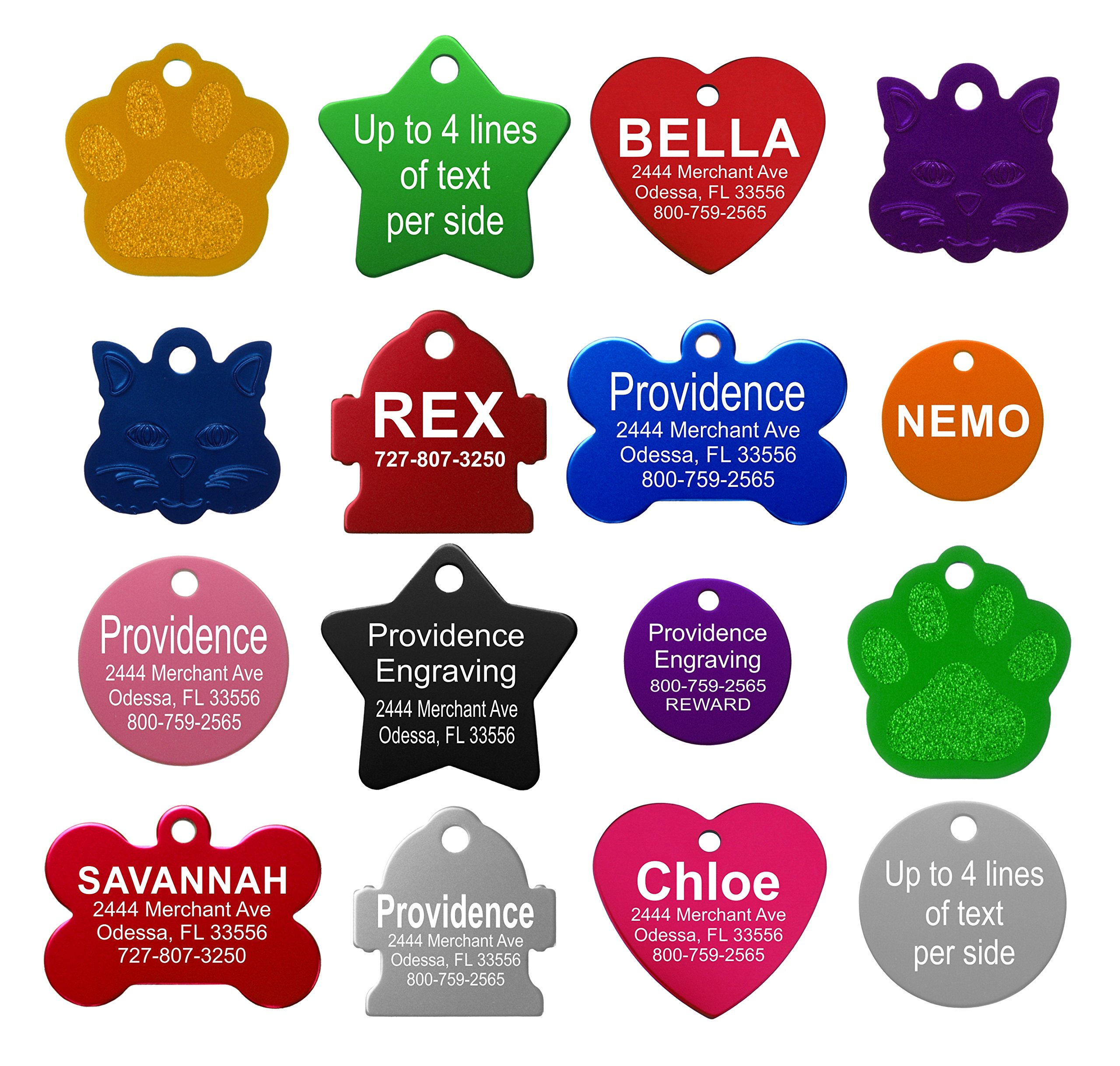 Providence Engraving Pet ID Tags - Small or Large Personalized Anodized Aluminum Pet ID Tags in Bone, Round, Star, Heart, Hydrant, Paw and Cat Face Shapes and 9 Colors for Dog Tags and Cat Tags