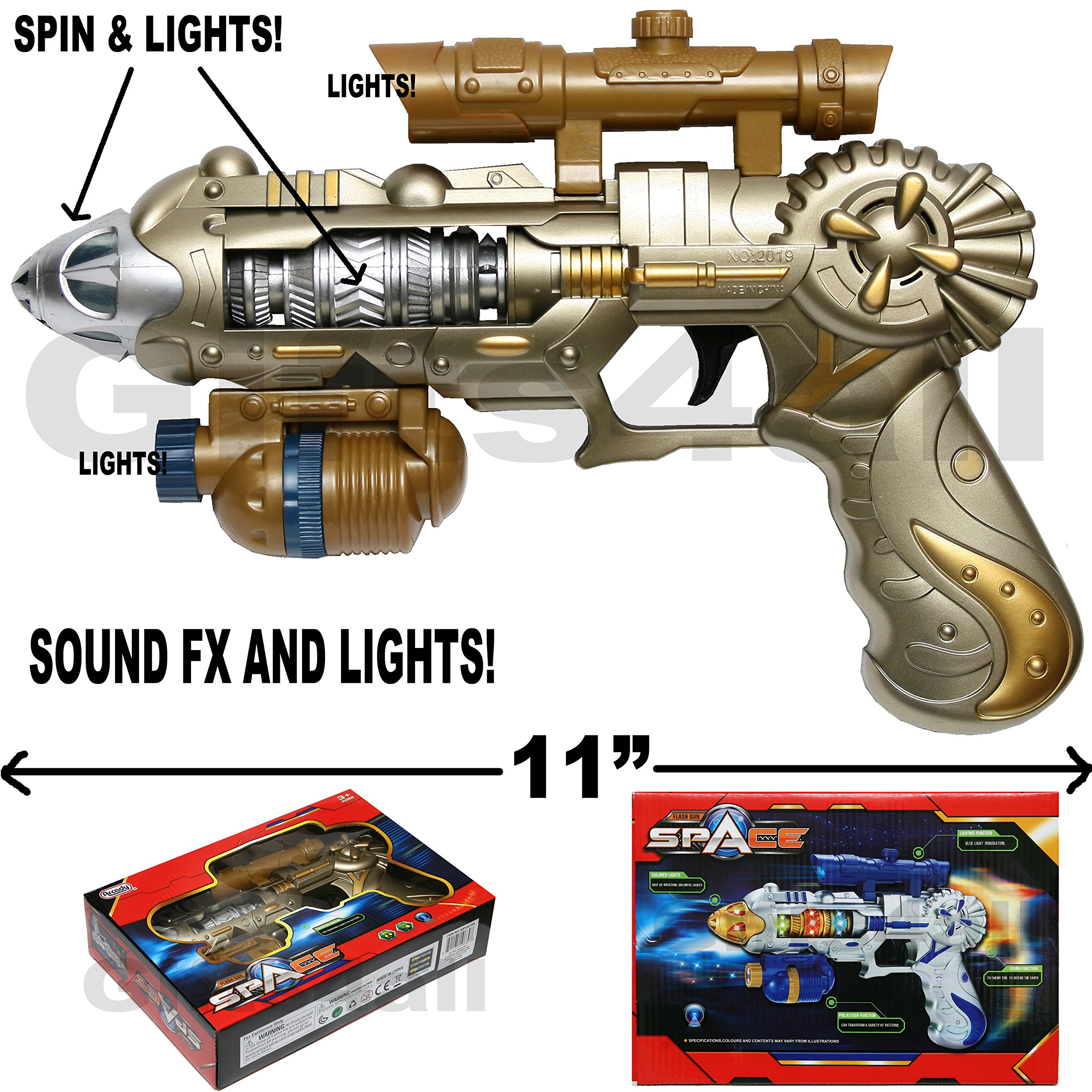 COLOSSUS LIGHT-UP SPACE GUN TOY WEAPON FX SOUNDS AND LIGHTS