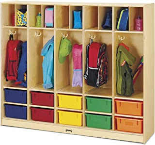 product image for Jonti-Craft 26857JC Large Locker Organizer with 10 Colored Tubs, Natural, 15x60x50.5