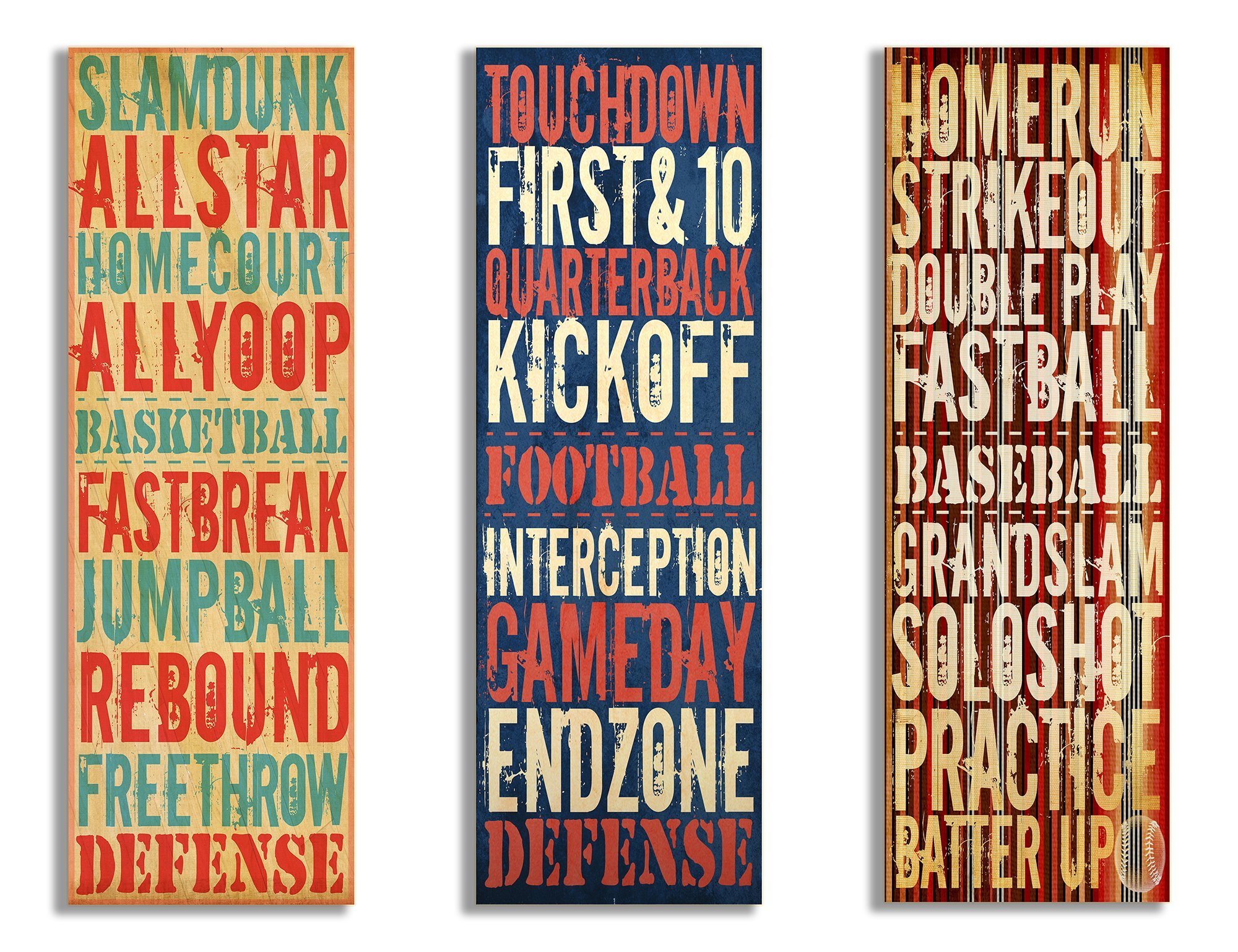 The Kids Room by Stupell Football, Baseball, Basketball Sports Typography 3-Pc. Rectangle Wall Plaque Set, 7 x 0.5 x 17, Proudly Made in USA by The Kids Room by Stupell