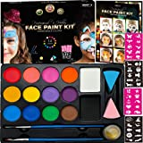 Face Paint Kit for Kids - 40 Face Paint Stencils, 14 Water Based Paints with 2 Large White and Black Colors - Halloween…
