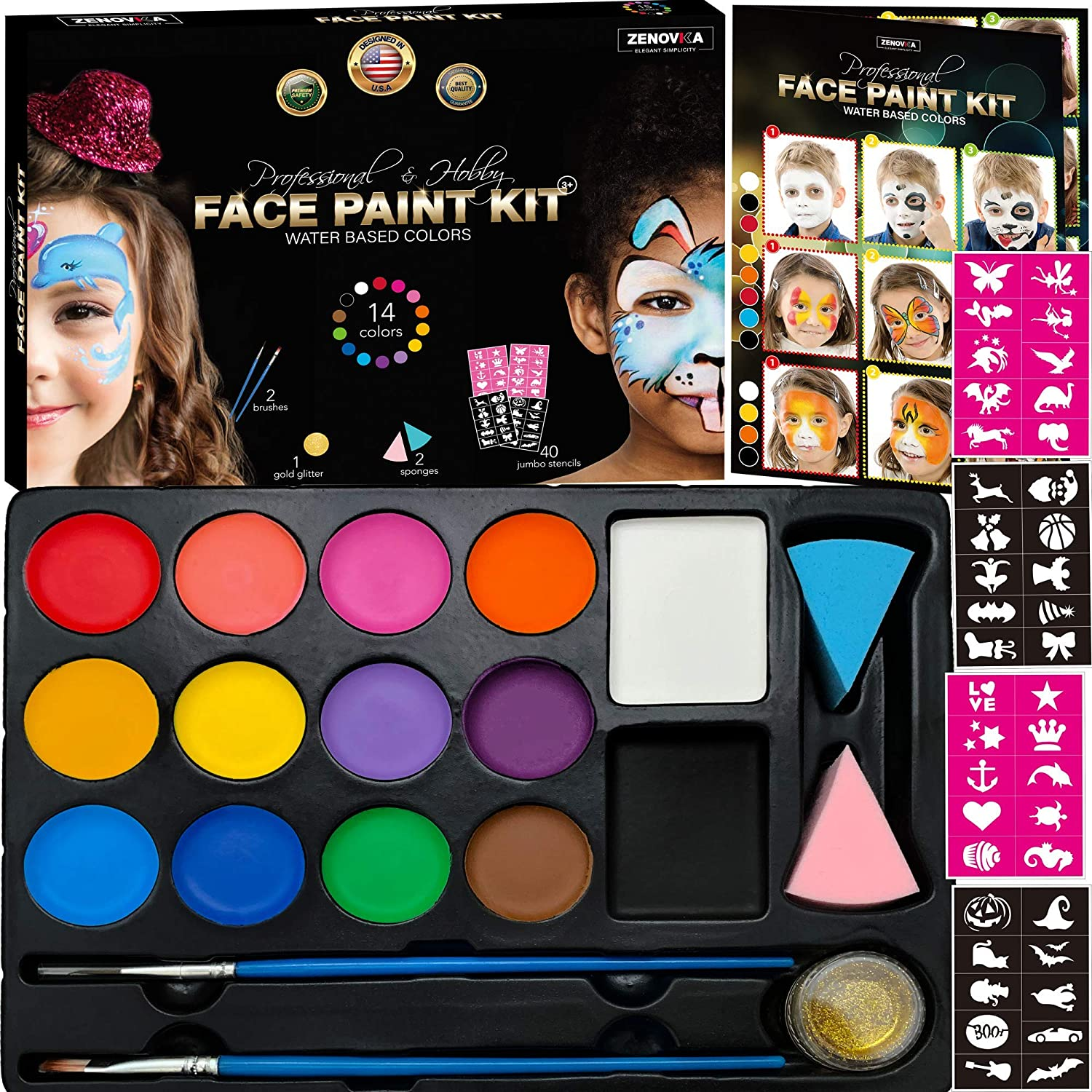 Face Paint Kit for Kids - 14 Professional Face Paints, 40 Jumbo Stencils, 2 Brushes, 2 Sponges, Gold Makeup Loose Glitter - Safe Face and Body Painting Kit for Sensitive Skin, Face Painting Book