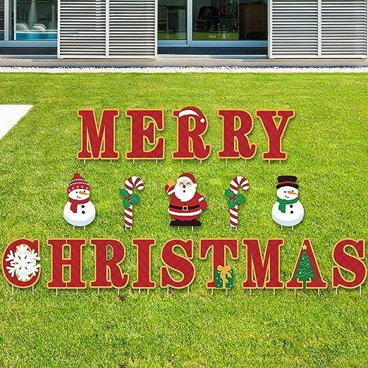 Blulu Señal de Jardín de Merry Christmas Decoraciones de Jardín al Aire Libre - Cartel de Jardín de Navidad 19 Adornos de Hogar de Navidad Letras Navideñas: Amazon.es: Hogar