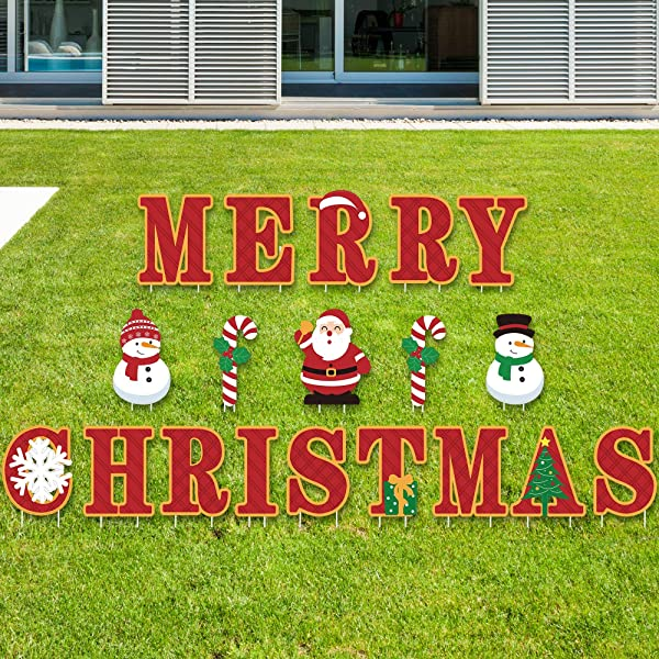 Big Dot Of Happiness Merry Christmas Yard Sign Outdoor Lawn Decorations Christmas Yard Signs Amazon Com Au Lawn Garden