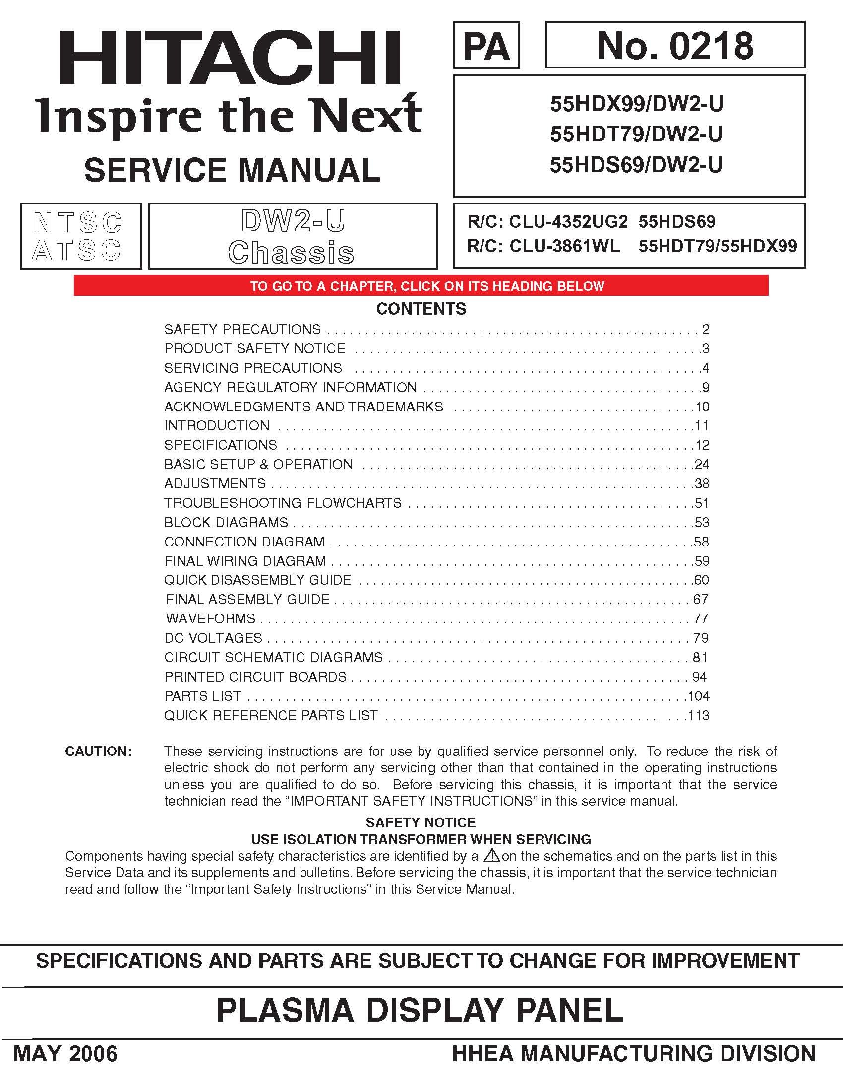 hitachi 55hdt79 service manual hitachi amazon com books rh amazon com Hitachi Repair Manual Hitachi TV Repair Manual