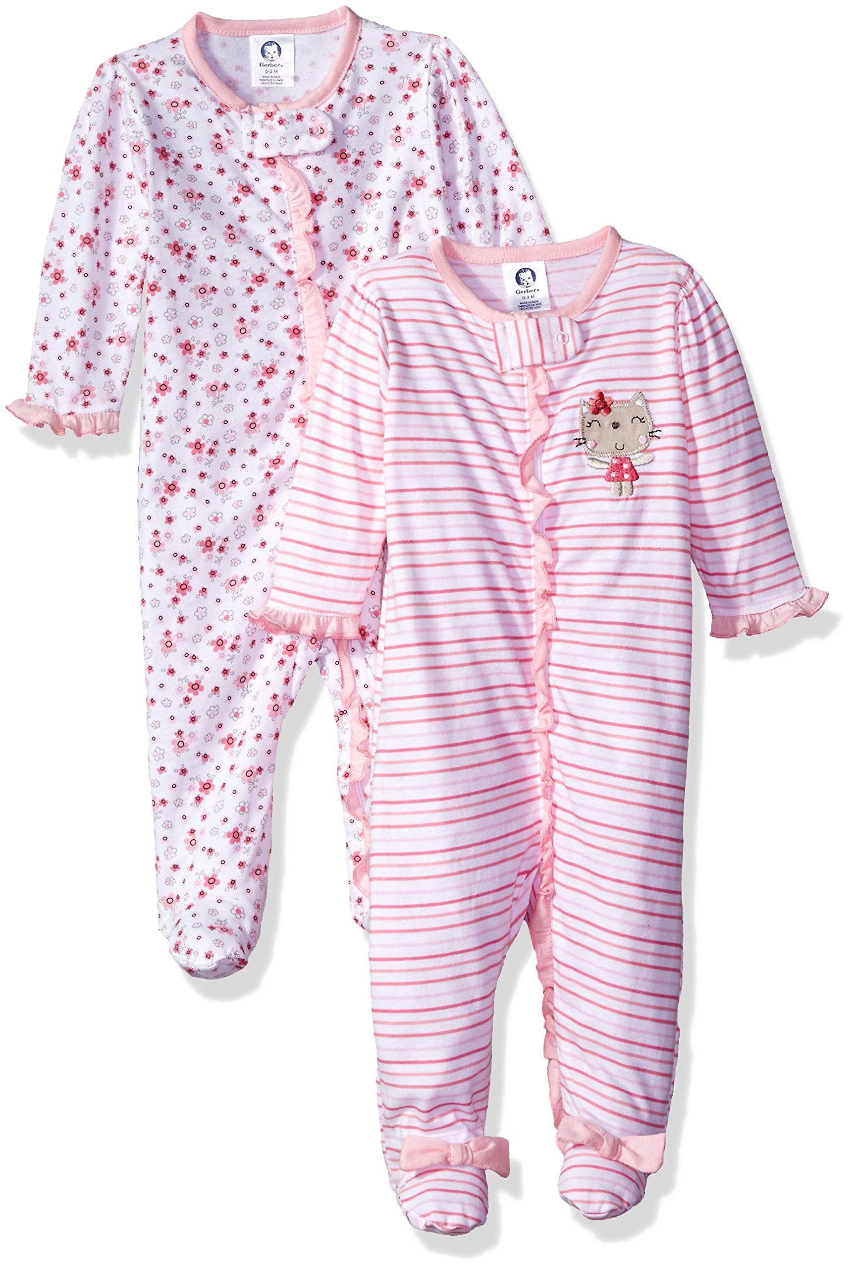Gerber Baby Girls 2 Pack Zip Front Sleep  n Play e7524cb03