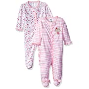 Gerber Baby Girls 2 Pack Zip Front Sleep 'n Play, Lil' Flowers, 0-3 Months