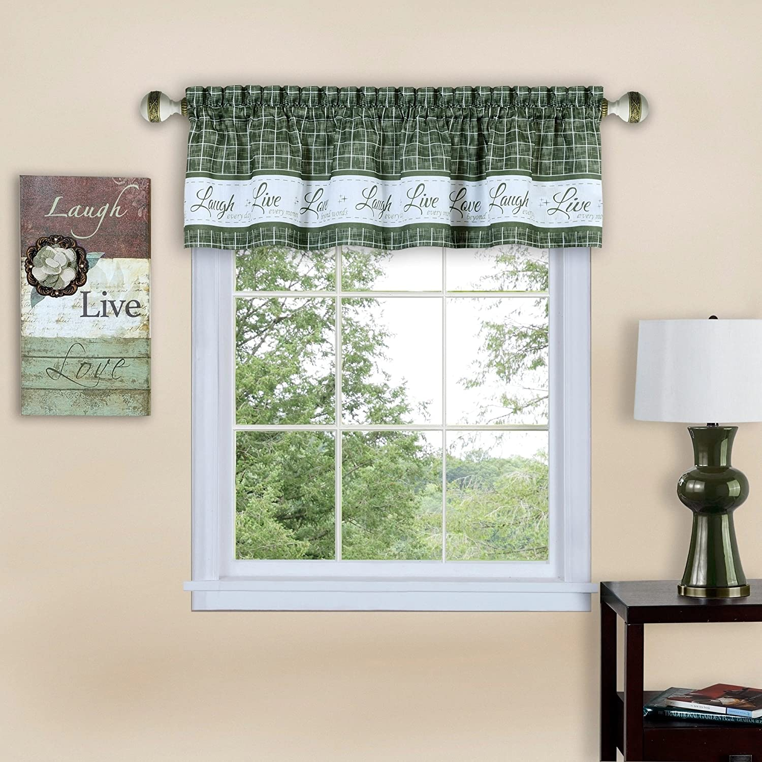 "Achim Home Furnishings Achim Home Imports Live, Love, Laugh Window Curtain Valance 58"" x 14"", Green"