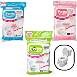 Toilet Seat Covers- Disposable XL Potty Seat Covers, Individually Wrapped by Potty Shields - Extra-Large, No Slip (Floral - 40 Pack)