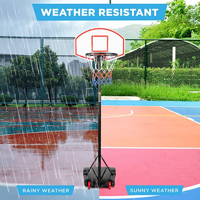 Detectoy Portable Basketball Backboard Hoop Net Set Professional Outdoor Basketball Stand with Wheels for Adjults and Children,Adjustable High 2.1M-2.6M