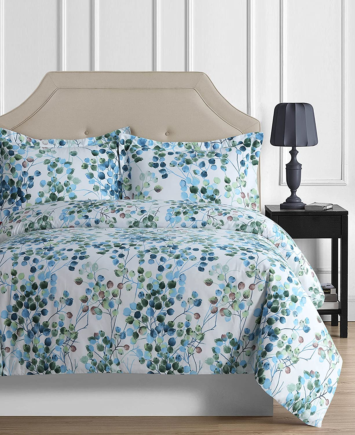 Tribeca Living LEA120DUVETQU Madrid Tropical Rainforest Oversized Duvet Set, Queen, Leaves Multi