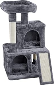 YAHEETECH 36in Cat Tree Cat Tower Play House Climber Stand Furniture with Scratching Post, Plush Perch, Dangling Ball, Two Condo and Ramp, Suit for Kittens, Cats and Pet