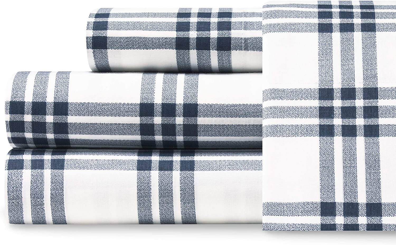 Eddie Bauer Home | Percale Collection Sheet Set-100% Cotton, Crisp & Cool, Lightweight & Moisture-Wicking Bedding, King, Navy Plaid