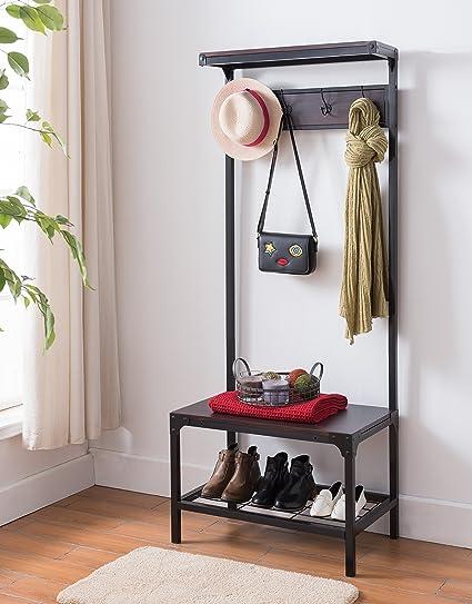 Delicieux Espresso Industrial Look Entryway Shoe Bench With Coat Rack Hall Tree  Storage Organizer 8 Hooks In