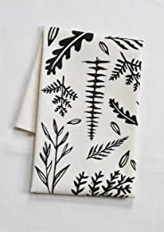 Organic Cotton Fern Tea Towel in Black