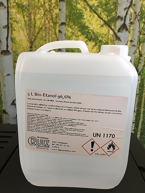 Bioetanol liquido 96.6º. 20 litros (4 garrafas de 5 litros) de combustible para estufas y chimeneas de bioetanol: Amazon.es: Hogar