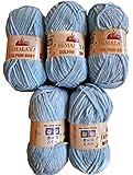 5 x 100 g super weiche und super bulky Himalaya Dolphin Baby 80306 hell blau Farbe, Wolle zum stricken und häkeln