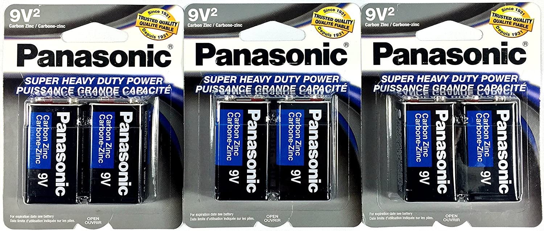 6Pc Size 9V Panasonic Batteries Super Heavy Duty Power Zinc Carbon