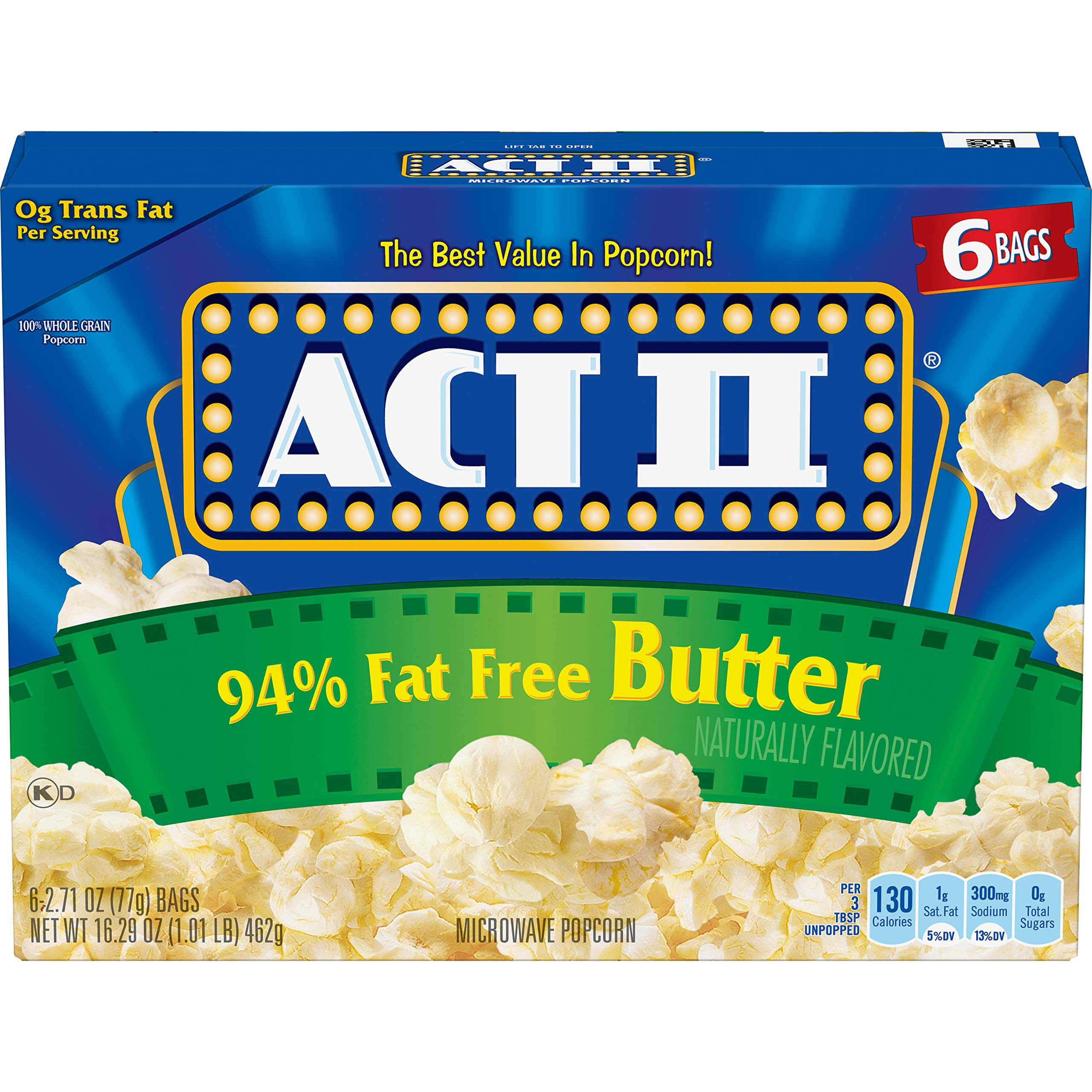 Act II Popcorn 94% Fat Free Butter Flavored, 2.71 Ounce Bags, 6-Count, Pack of 6