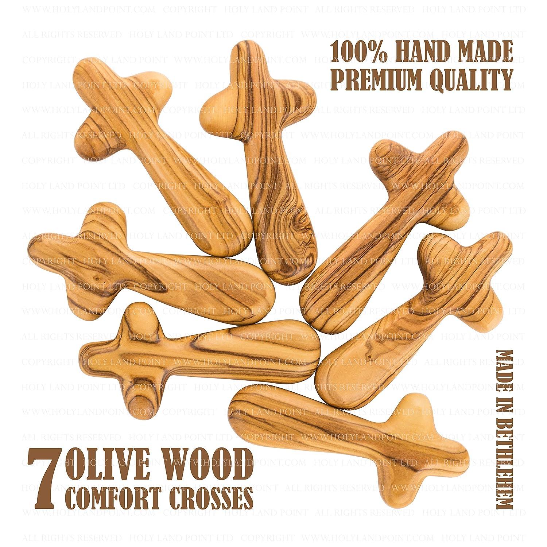HOLY LAND POINT LTD HLP7CC Palm Crosses Holy Land Holding Crosses 7 Olive Wood Comfort Crosses 3.66 inch